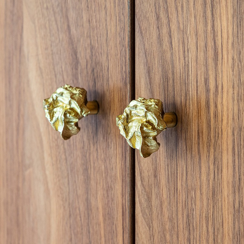 Brass knob for bathroom and kitchen furniture designed by Victoria Maria Geyer