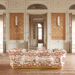 orobouros patterns on a sofa for the Pierre Frey Collection