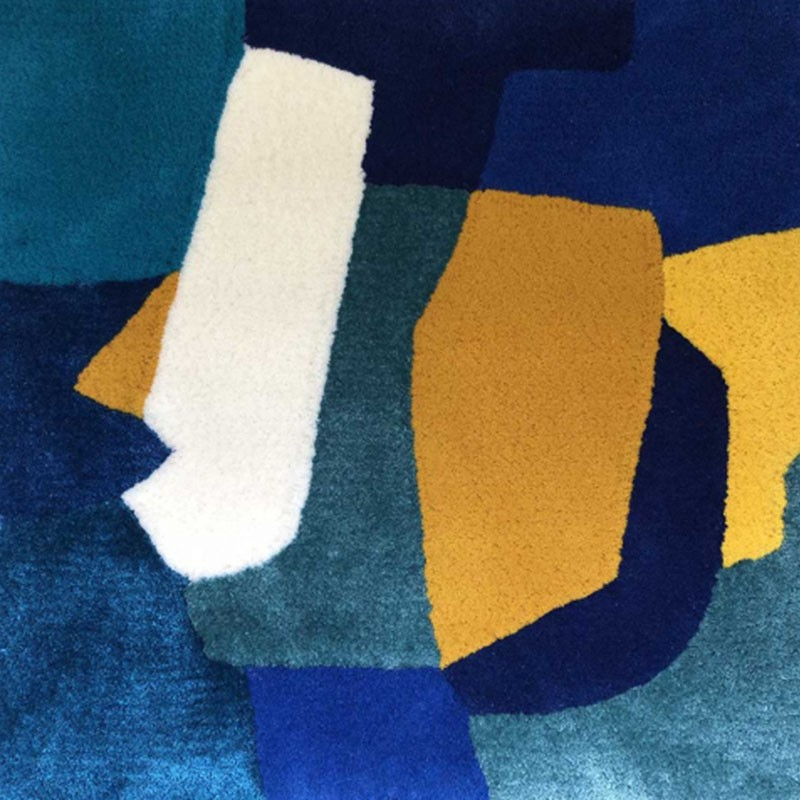 Blue and yellow handtufted rug in fine botanical silk and mohair