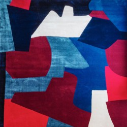 Mohair and fine botanical silk rug with geometric shapes in blue, red and burgundy