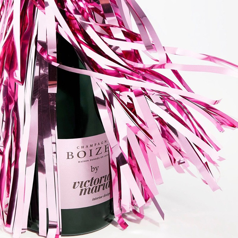 Pink bottle of champagne for Boizel