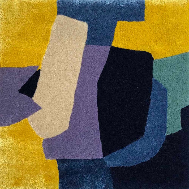 Handtufted rug in silk and mohair with Blue and Yellow shapes