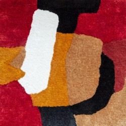 Red, Yellow, Blue, White rug in mohair and fine botanical silk
